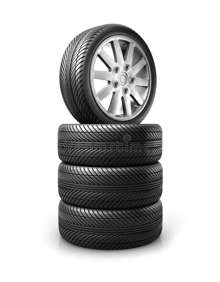 Reeks autowielen en banden vector illustratie