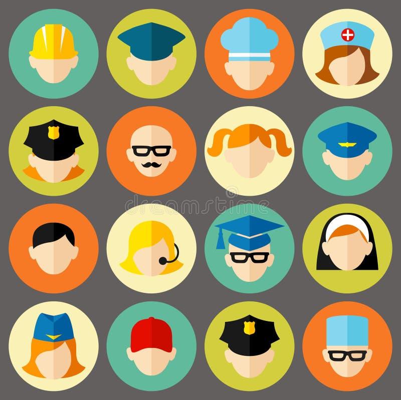 Reeks avatars mensen Vlakke geplaatste stijl vectorpictogrammen stock illustratie