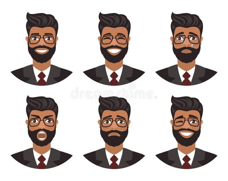 Reeks avatars van mensen die diverse emoties uitdrukken: vreugde, droefheid, gelach, scheuren, woede, afschuw, schreeuw royalty-vrije illustratie