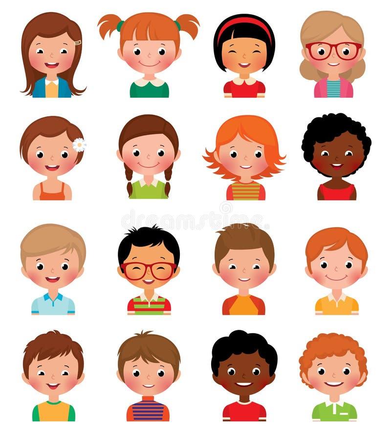 Reeks avatars van verschillende jongens en meisjes stock illustratie