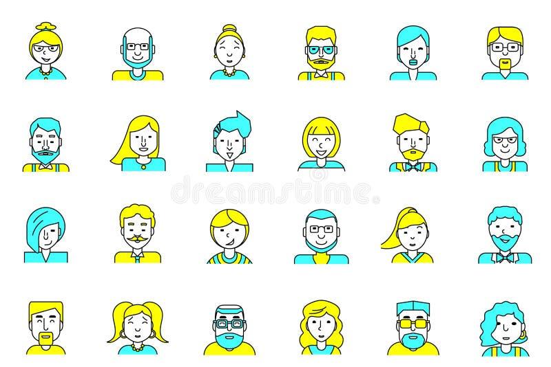 Reeks avatars Vlakke stijl Inzameling van lijn de kleurrijke pictogrammen van mensen voor profielpagina, sociaal netwerk, sociale stock illustratie