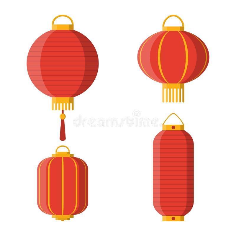 Reeks Aziatische decoratieve hangende document lantaarns vector illustratie