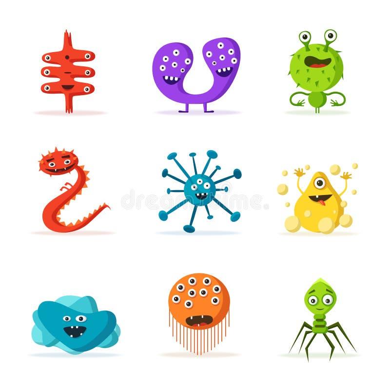 Reeks bacteriënkarakters De vectorillustratie van het beeldverhaal microbiology royalty-vrije illustratie