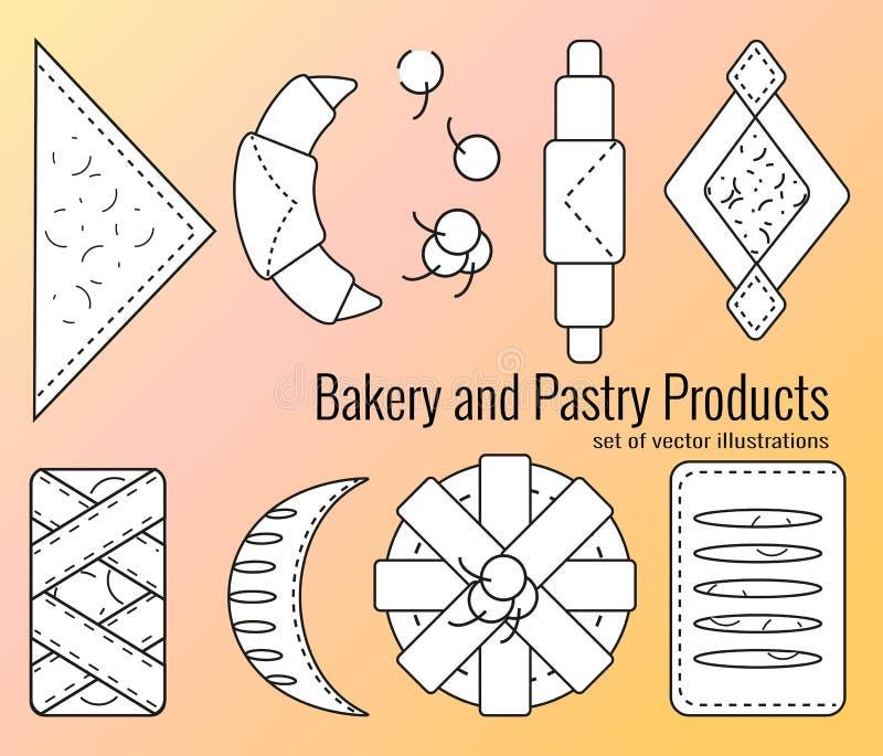 Reeks bakkerij en banketbakkerswerken in overzichtsstijl Croissants, ongezuurde broodjes, rookwolken, broodje, broodjes van blade vector illustratie