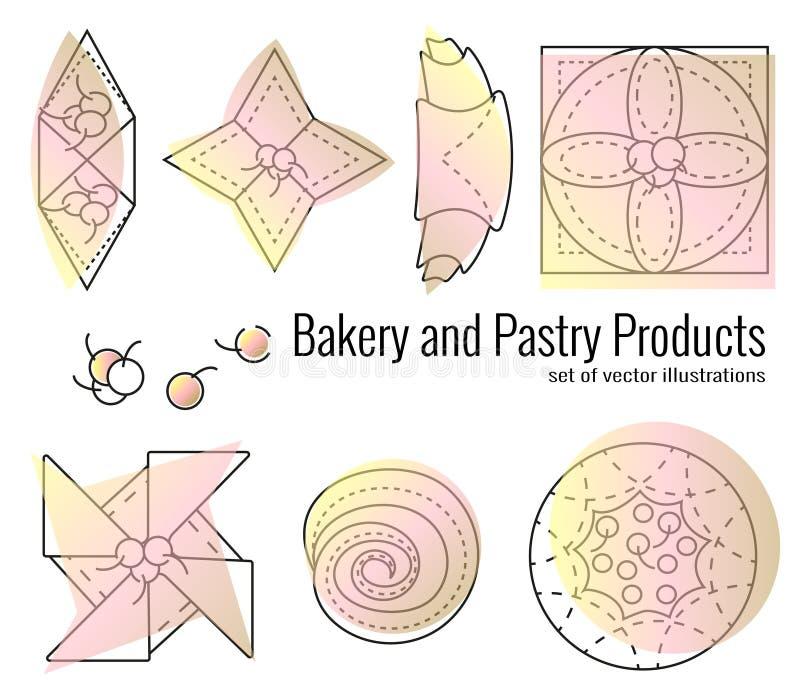 Reeks bakkerij en banketbakkerswerken in overzichtsstijl op witte achtergrond Croissants, ongezuurde broodjes, rookwolken, broodj royalty-vrije illustratie