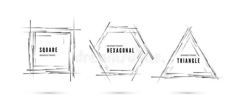 Reeks banners De lijnen met zwart-wit gradiënt leiden tot kader in vorm van geometrische vormen Vector illustratie stock illustratie