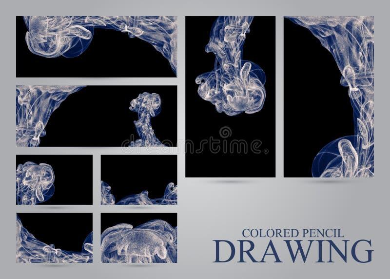 Reeks banners en adreskaartjes met abstracte wolken van inktdr. vector illustratie