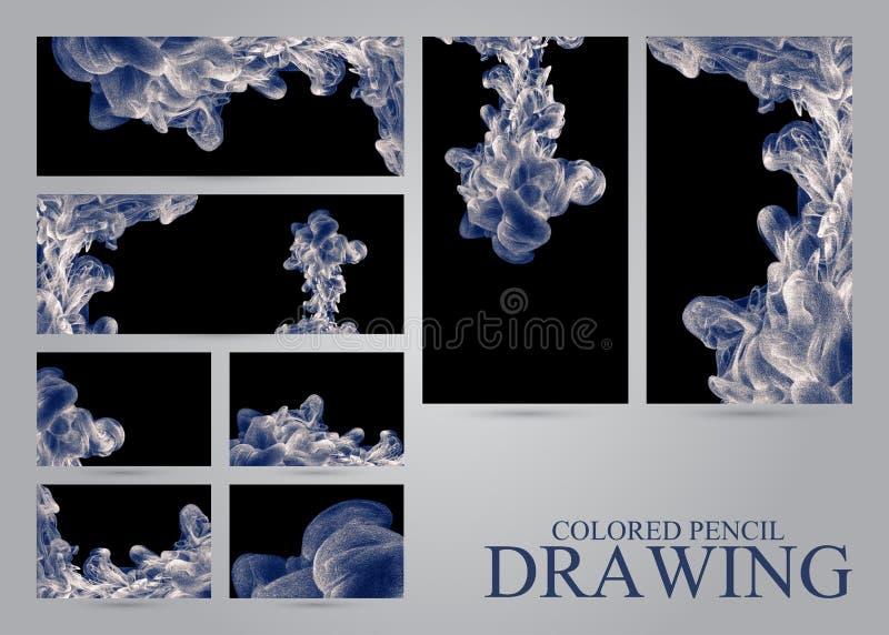 Reeks banners en adreskaartjes met abstracte wolken van inktdr. royalty-vrije illustratie