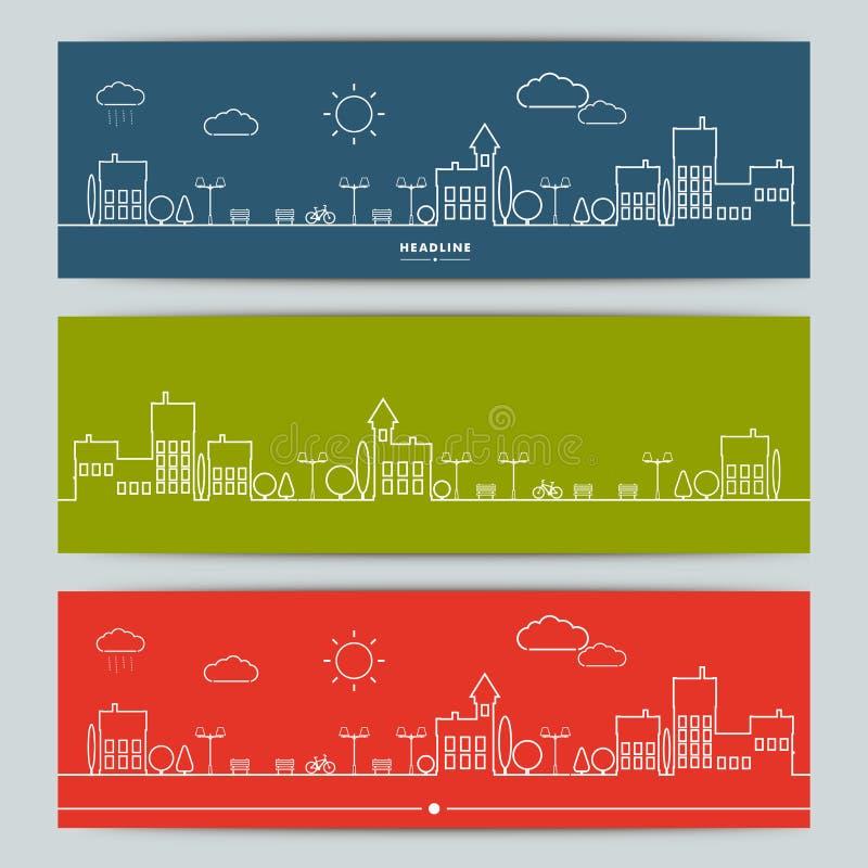 Reeks banners met contour stedelijk landschap vector illustratie