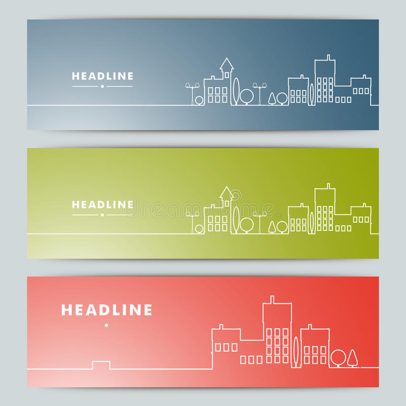 Reeks banners met contour stedelijk landschap stock illustratie