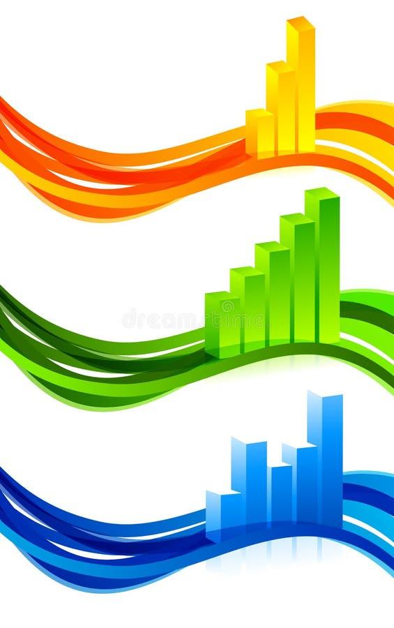 Reeks banners met diagram stock illustratie