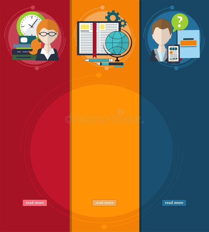 Reeks banners met het thema van het bedrijfsleven van elektronen en opleiding Planningswerkschema Uw websiteontwerp vector illustratie