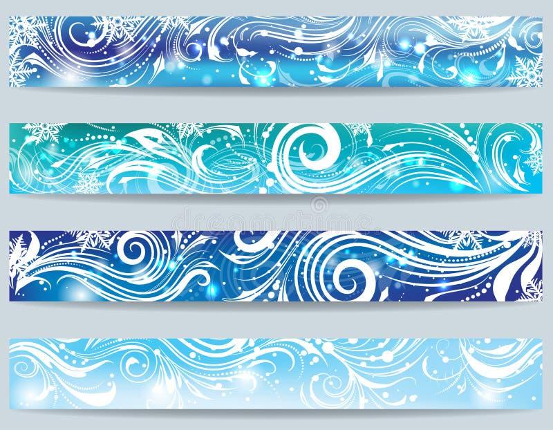 Reeks banners met ijzig ornament vector illustratie