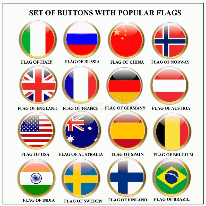 Reeks banners met populaire vlaggen royalty-vrije illustratie