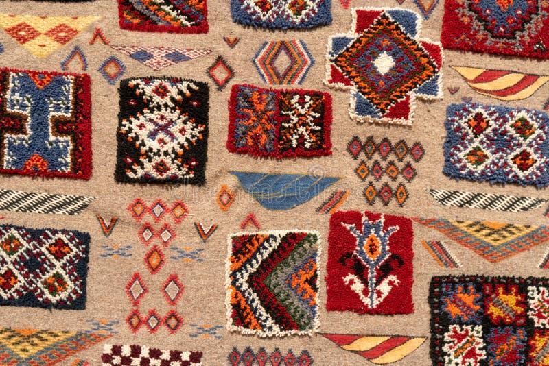 Reeks banners met texturen van tapijt van de berber het traditionele wol met geometrisch patroon, Marokko, Afrika royalty-vrije stock foto