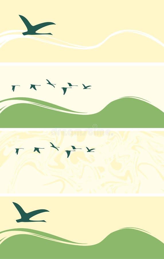 Reeks banners met vliegende ganzen of eenden vector illustratie