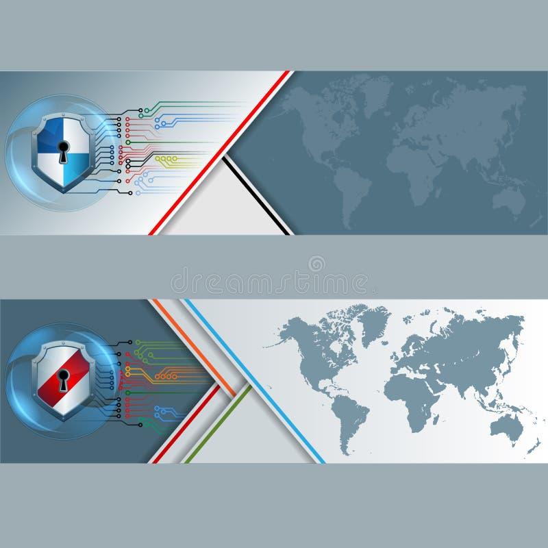 Reeks banners met wereldkaart, schild met zeer belangrijk gat wordt uitgerust en elektronische kringen die royalty-vrije illustratie