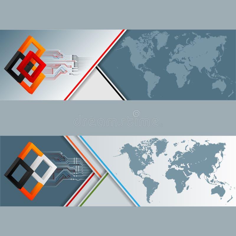 Reeks banners met wereldkaart, vierkanten en elektronische kringen vector illustratie
