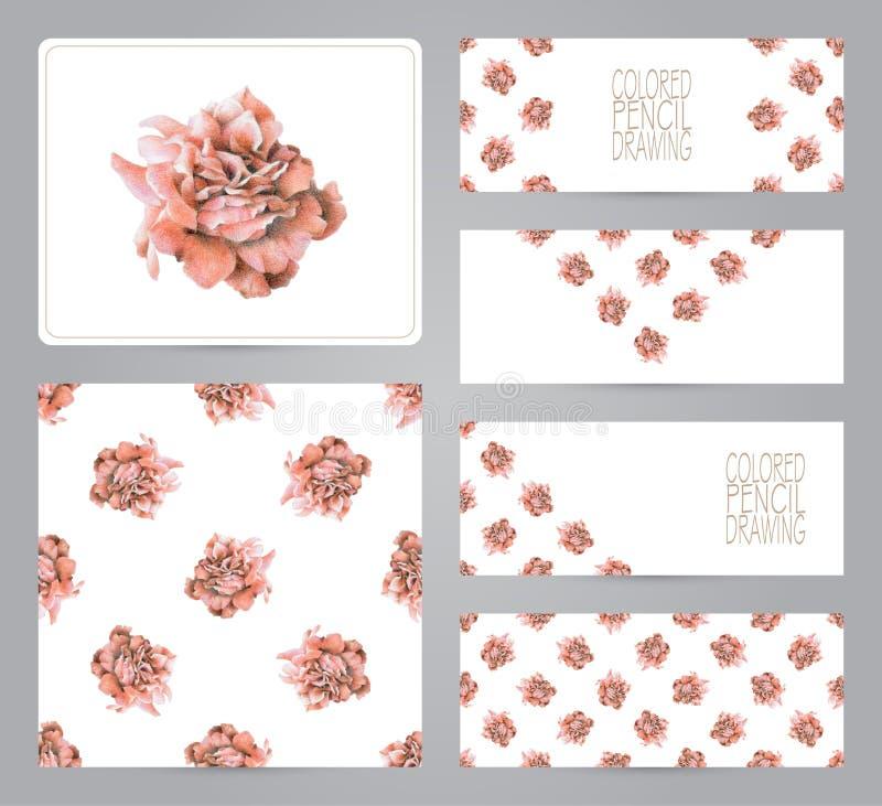 Reeks banners, patroon, en illustraties met rode rozen royalty-vrije illustratie