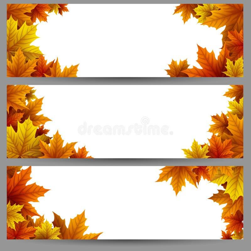 Reeks banners van de herfstbladeren stock illustratie