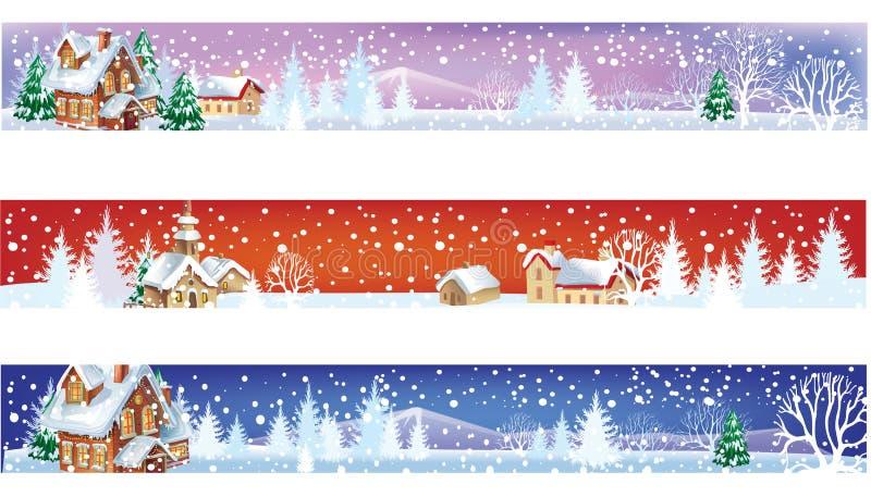 Reeks banners van de winterKerstmis stock illustratie