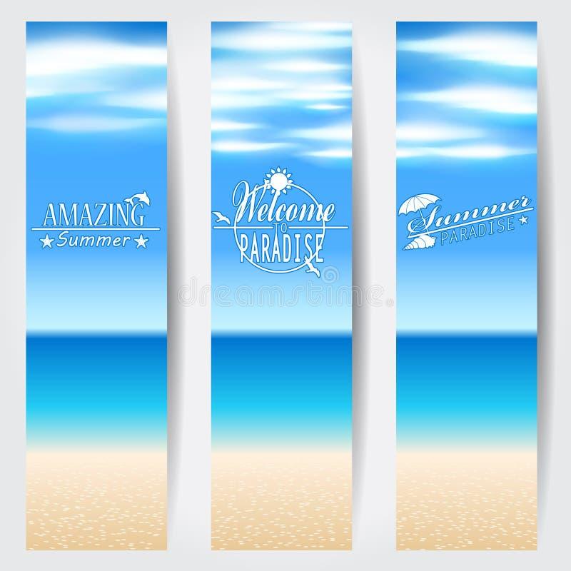 Reeks banners van het de zomer tropische Web stock illustratie