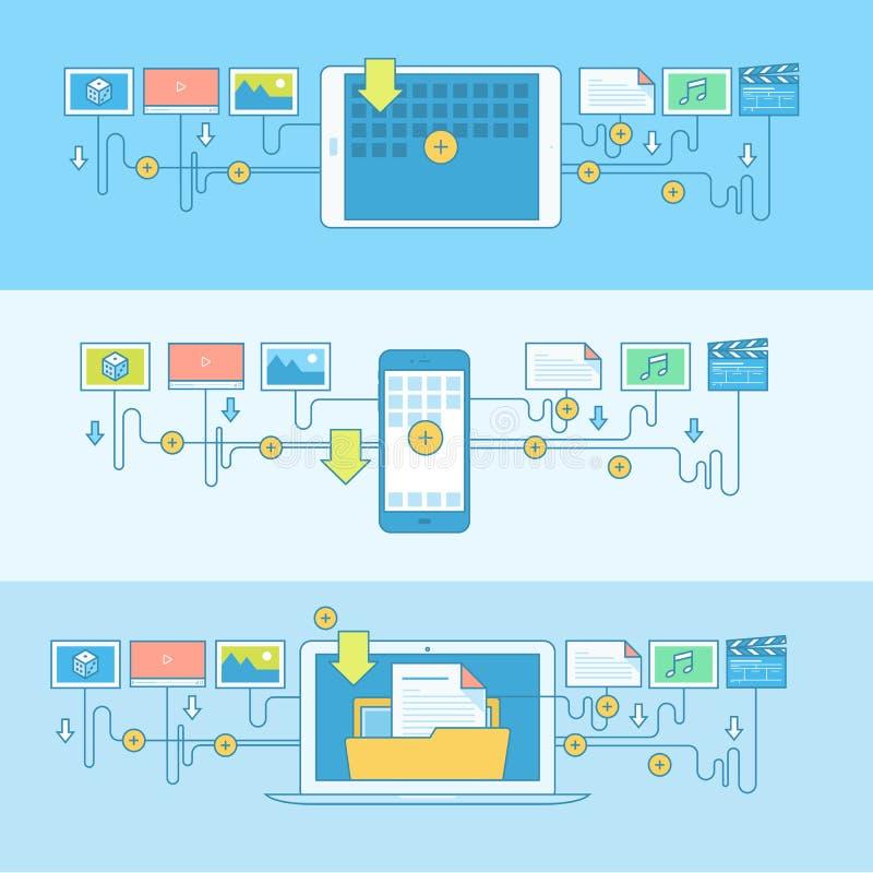 Reeks banners van het lijnconcept voor de downloaddiensten vector illustratie