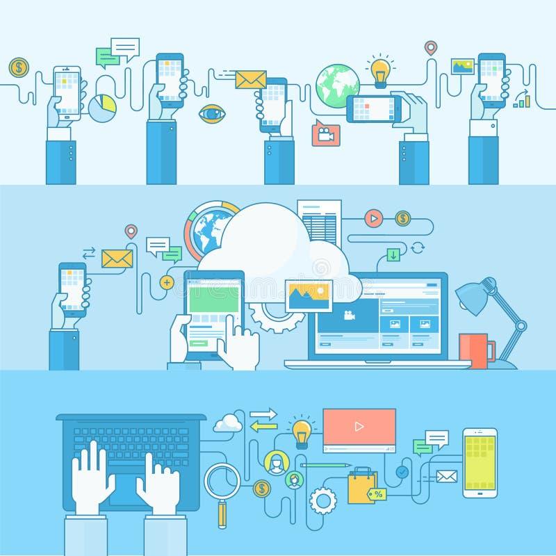 Reeks banners van het lijnconcept voor Web en de mobiele diensten en apps stock illustratie