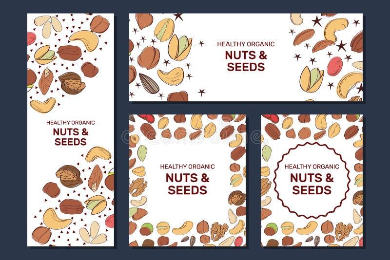Reeks banners van het Nootvoedsel met hazelnoot, okkernoot, pijnboomnoten, pecannoot, pinda royalty-vrije illustratie
