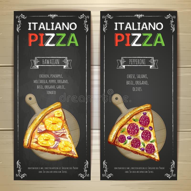 Reeks banners van het pizzamenu royalty-vrije illustratie