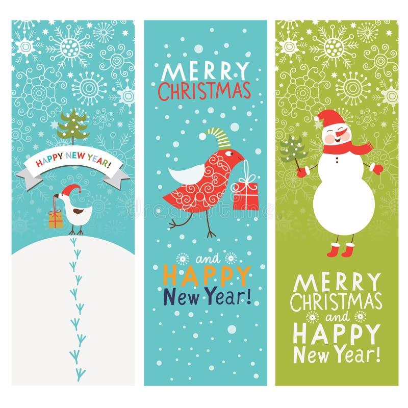 Reeks banners van Kerstmis en van Nieuwjaren stock illustratie