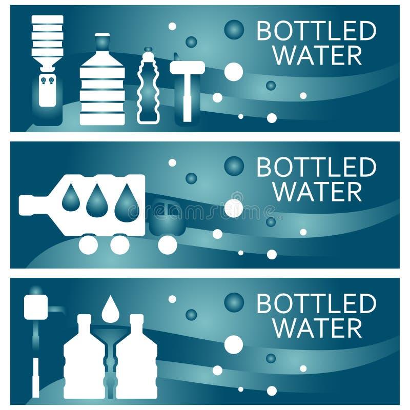 Reeks banners voor thema gebotteld waterontwerp Vectorillus stock illustratie