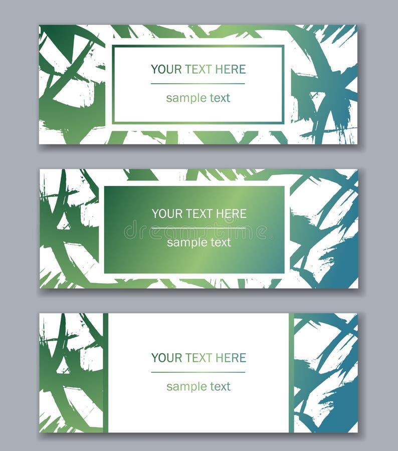 Reeks bannersmalplaatjes Modern abstract ontwerp Hand getrokken inkt stock foto's