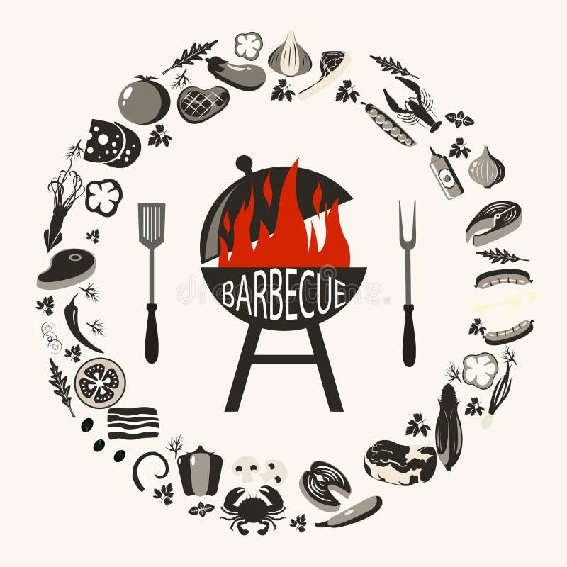Reeks barbecuevoorwerpen stock illustratie