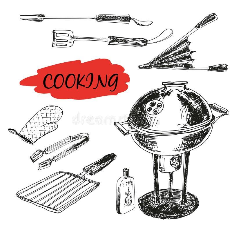 Reeks barbecuewerktuigen vector illustratie