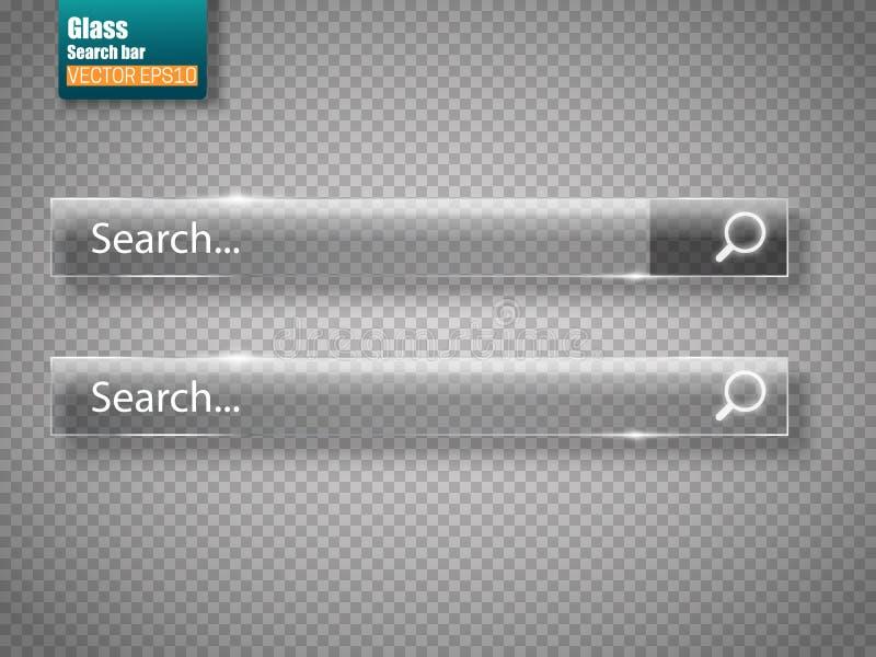 Reeks bars van het glasonderzoek Vectormalplaatje voor websites stock illustratie