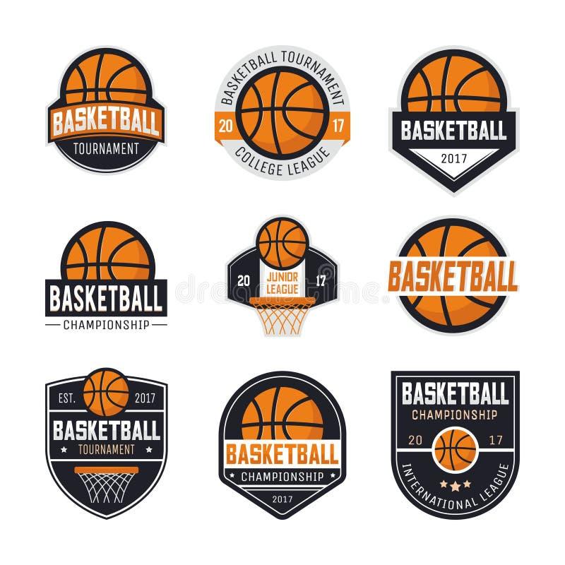 Reeks basketbalemblemen royalty-vrije illustratie