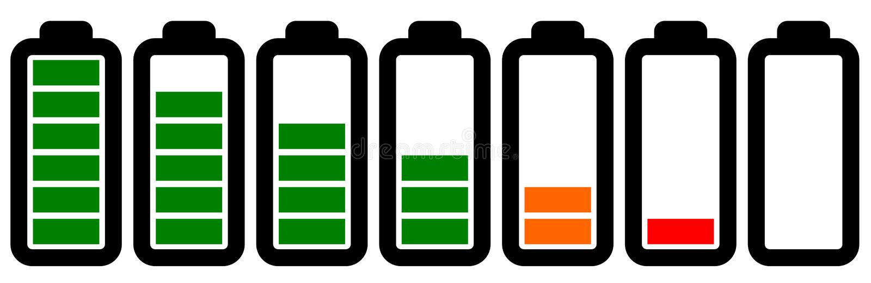 Reeks batterijpictogrammen met verschillende niveaus van last stock illustratie