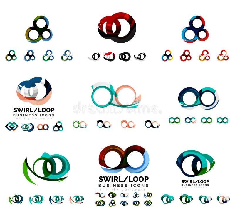 Reeks bedrijf logotype het brandmerken ontwerpen, werveling royalty-vrije illustratie