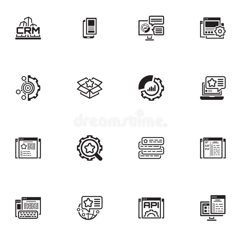 Reeks Bedrijfs en Marketing Vlakke pictogrammen royalty-vrije illustratie