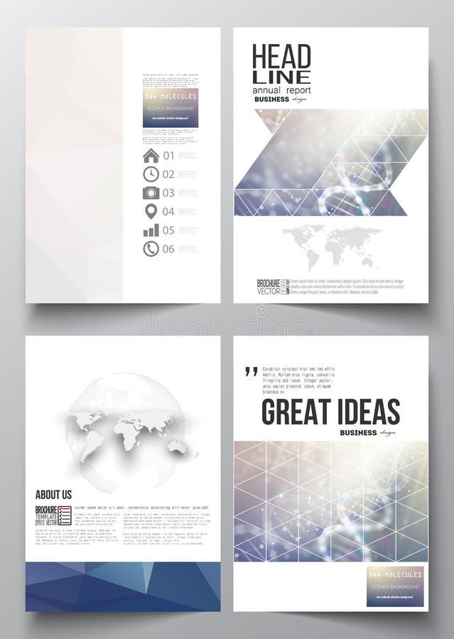 Reeks bedrijfsmalplaatjes voor brochure, tijdschrift, vlieger, boekje of jaarverslag DNA-moleculestructuur op een blauw royalty-vrije illustratie