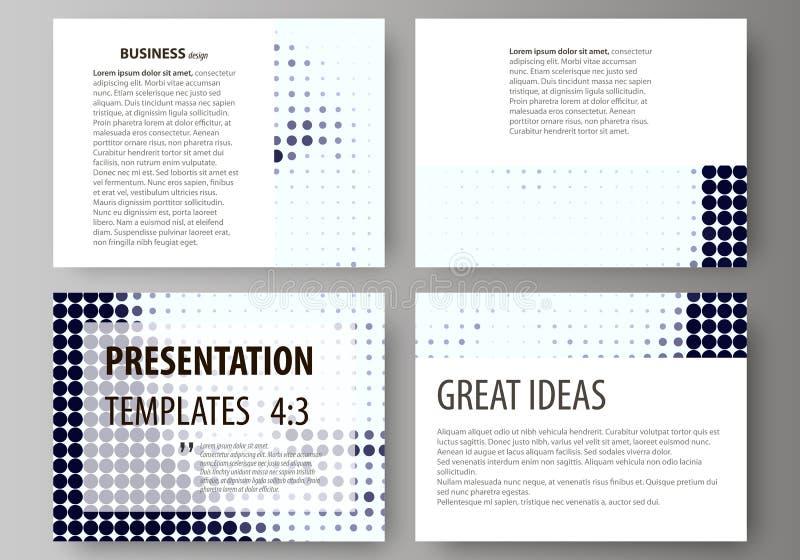 Reeks bedrijfsmalplaatjes voor presentatiedia's Abstracte ontwerp vectorlay-outs Halftone gestippelde retro achtergrond, stock illustratie