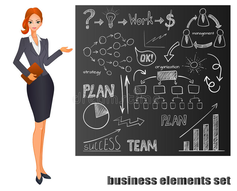 Reeks bedrijfspictogrammen op schoolbord Plan, het teamwerk, grafiek, gloeilamp, geldteken, hand getrokken pijlen, organisatie stock illustratie