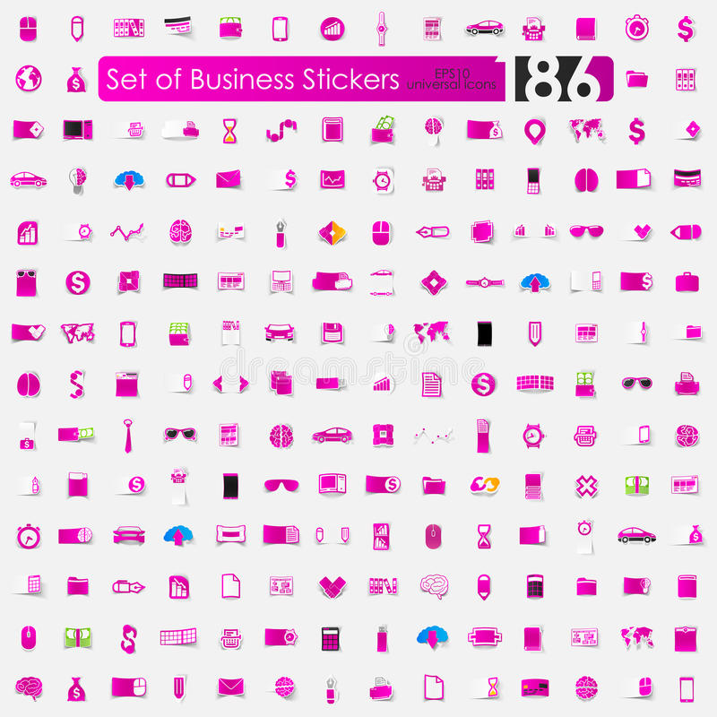 Reeks bedrijfsstickers royalty-vrije illustratie