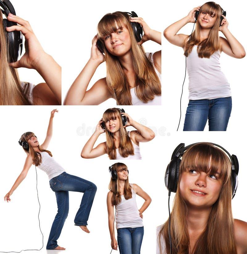 Reeks beelden die tienermeisje het luisteren glimlachen die aan muziek op wit wordt geïsoleerd royalty-vrije stock foto's