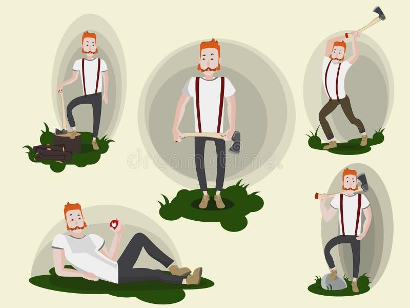 Reeks beelden met grappige beeldverhaal redheaded houthakker die een bijl houden Geïsoleerde stock illustratie