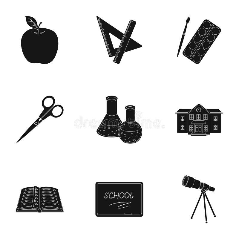 Reeks beelden over de school Studie opleiding Levering voor school Uitrusting van de student School en eduacationpictogram royalty-vrije illustratie