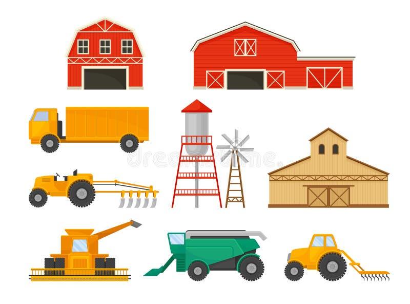 Reeks beelden van de landbouw van voertuigen en gebouwen Vector illustratie op witte achtergrond royalty-vrije illustratie