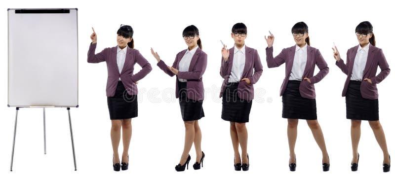 Reeks beelden van jonge aantrekkelijke bedrijfsvrouw status met a stock afbeelding