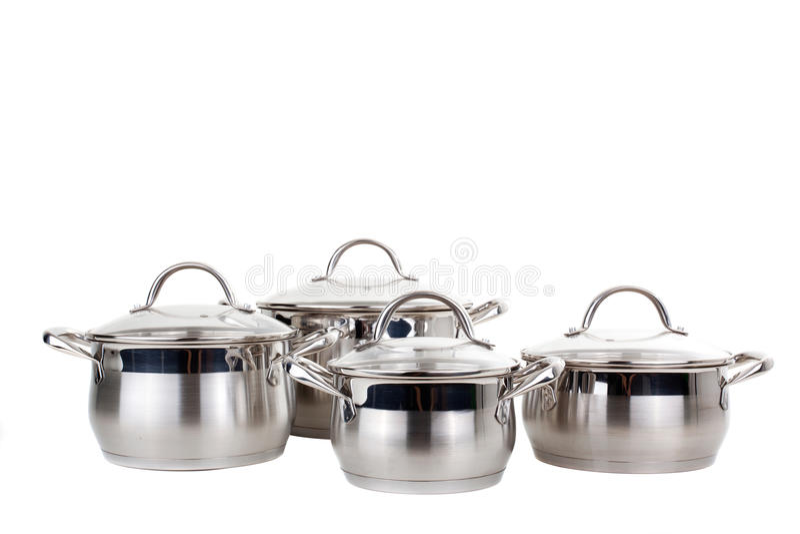 Reeks beelden van keukenwaren. Pan royalty-vrije stock foto